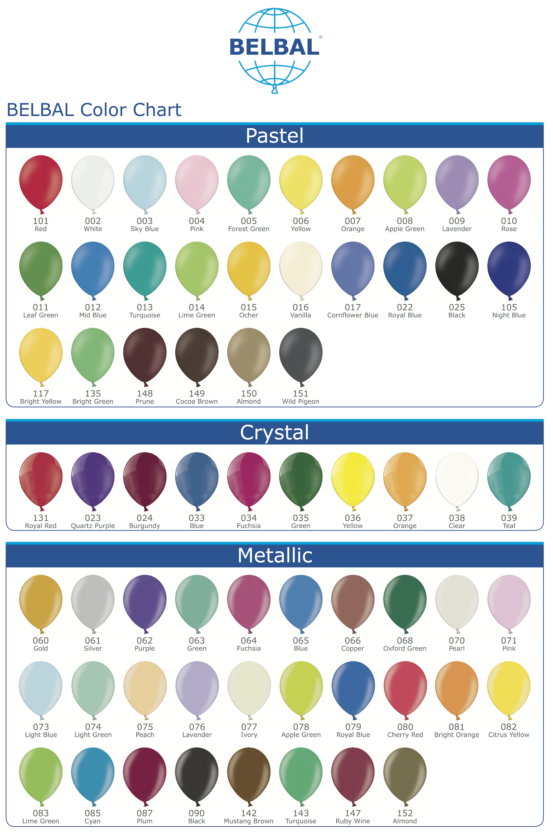 BELBAL Color Chart